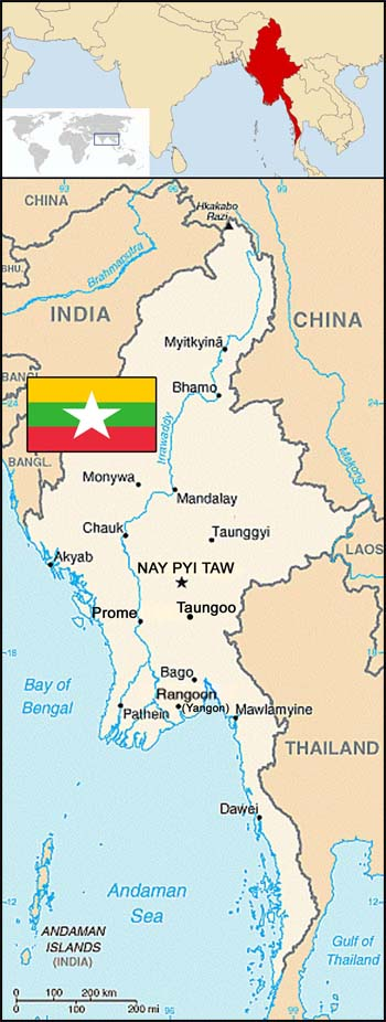 Map of Myanmar (Burma)