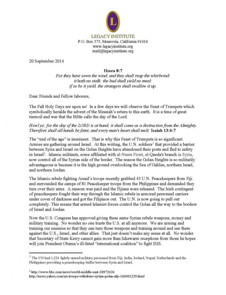 Legacy Letter September 2014