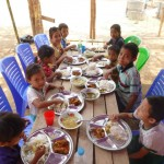 These kids were stoked with this feast! (This much feasting isn't the norm)