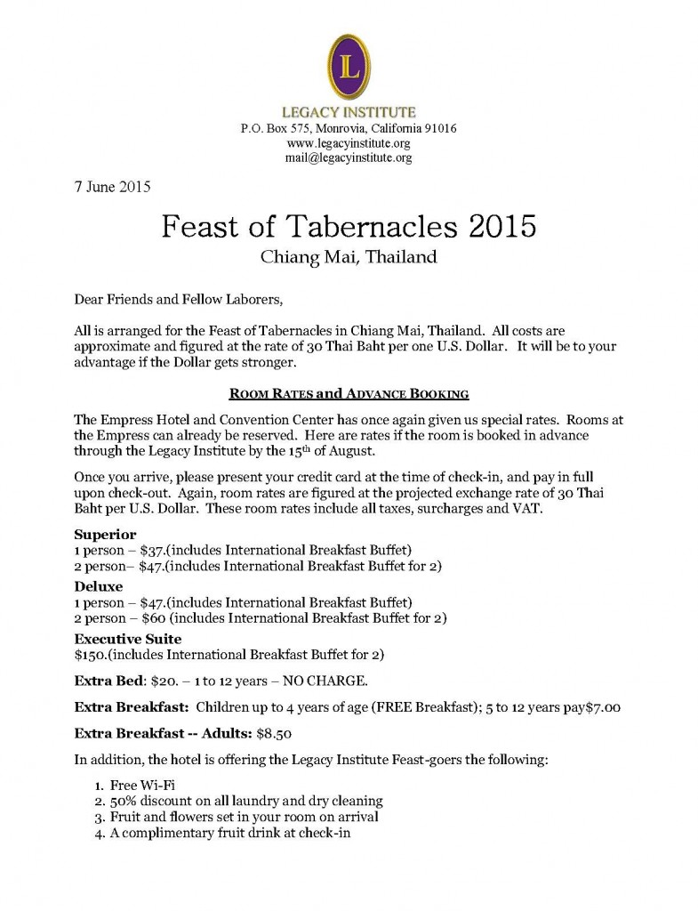2015 Feast of Tabernacles, Chiang Mai - Information