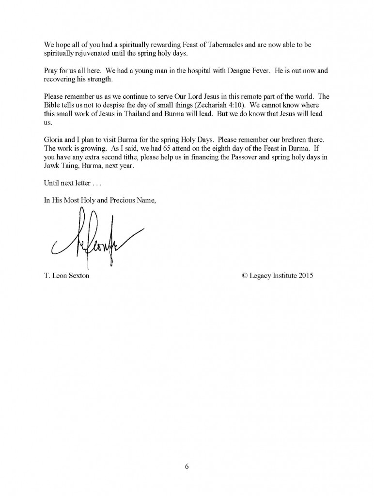 Legacy Letter October 2015