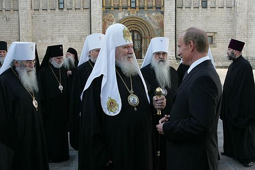 Vladimir Putin with bishops of Russian Orthodox Church