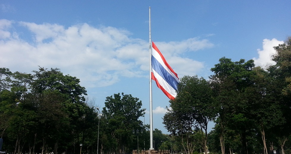 Thai flag flown at half staff